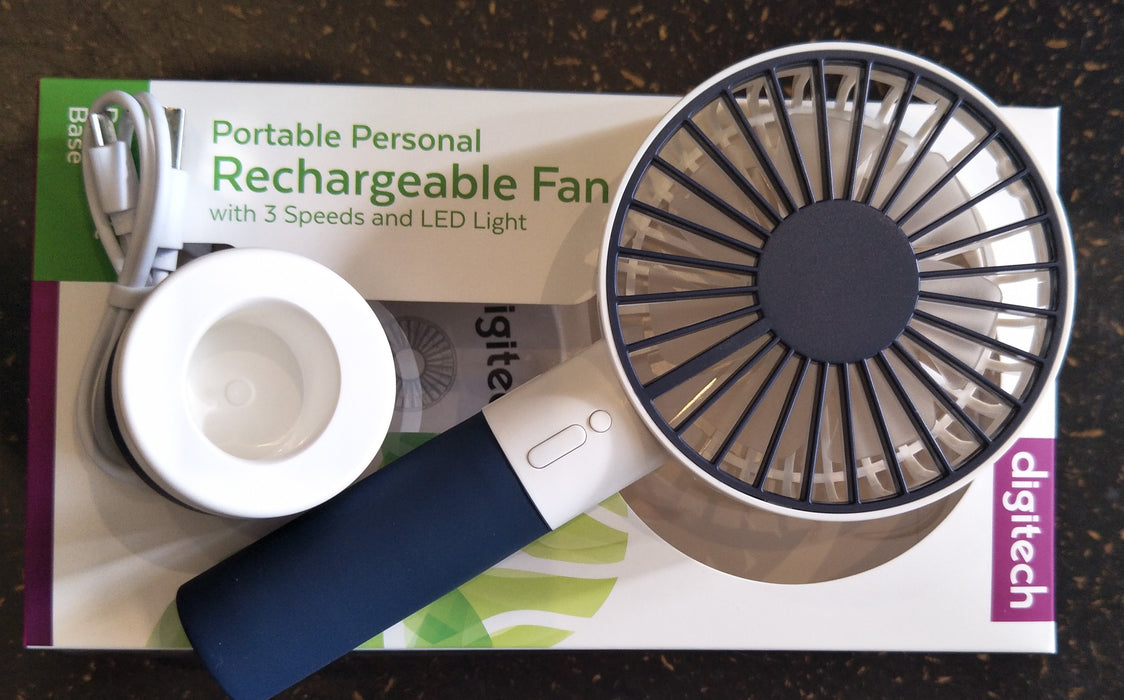 Portable Personal Rechargeable Fan with 3 Speeds and LED Light