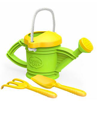 Green Toy Watering Can with Rake & Shovel