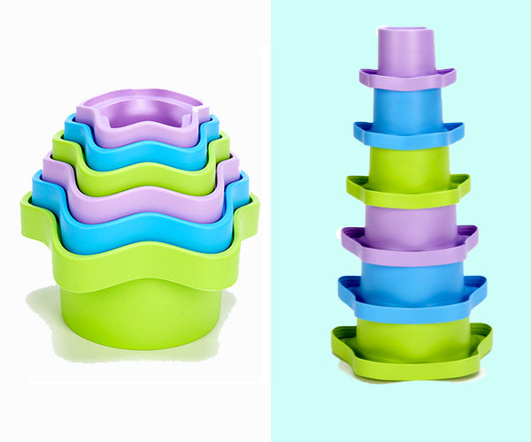 Green Toys Stacking Cups with Upside Down Version