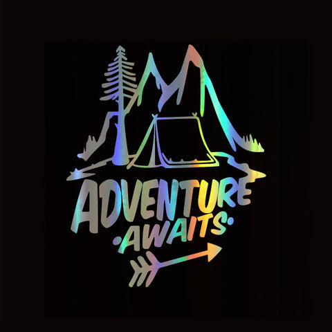 Adventure Awaits-Pine Trees and Mountains Sticker