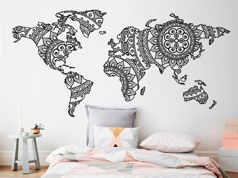 Mandala World Map Wall Sticker