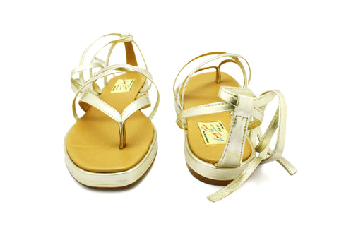 Lupe Champagne Gold Lace-Up 1950s Sandals. Long Gone Shoes Vintage Inspired Shoes.