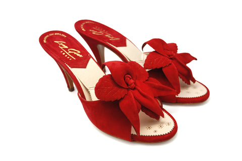 Sophia Red Suede with Clip On Matching Orchid 1950s Springolators. Long Gone Shoes Vintage Inspired Shoes.