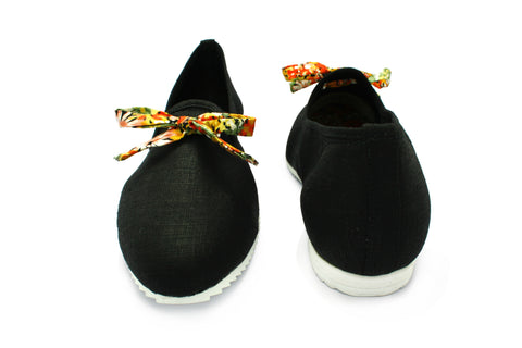 Ruby Black Cotton 1950s Slippers. Long Gone Shoes Vintage Inspired Shoes.