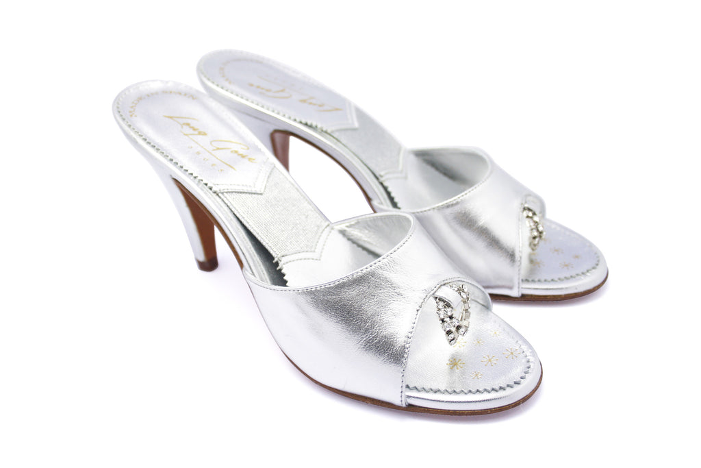 Mamie Silver Leather and Rhinestones 1950s Springolators. Long Gone Shoes Vintage Inspired Shoes.