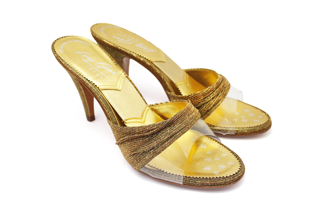 Diana Gold Lurex and Clear Vinyl 1950s Springolators. Long Gone Shoes Vintage Inspired Shoes.