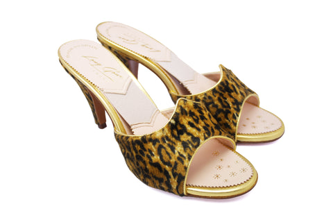 Jayne Leopard Print and Gold Leather 1950s Springolators. Long Gone Shoes Vintage Inspired Shoes.