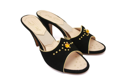 Wanda Jean Black Suede Studded 1950s Springolators. Long Gone Shoes, Vintage Inspired Shoes. Made in Spain.