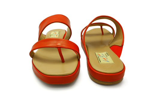 Catalina Bright Red Nappa 1950s Sandals. Long Gone Shoes Vintage Inspired Shoes.