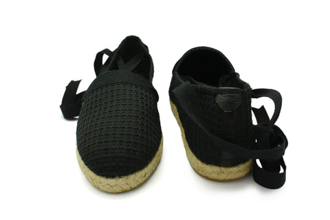 Juanita Black Poplin 1950s Espadrille. Long Gone Shoes Vintage Inspired Shoes.