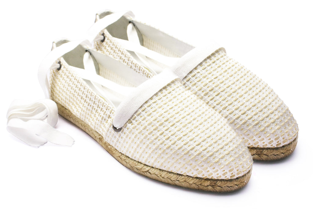 Juanita White Poplin 1950s Espadrilles. Long Gone Shoes Vintage Inspired Shoes.