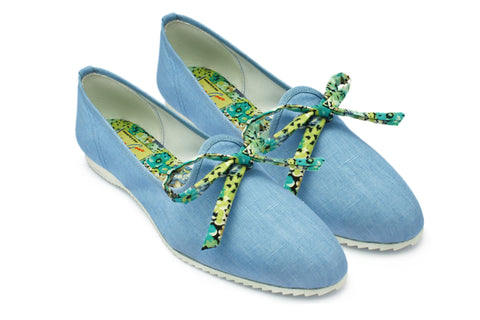 Ruby Blue Cotton 1950s Slippers. Long Gone Shoes Vintage Inspired Shoes.