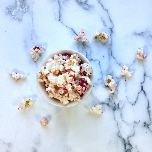 Festive Roasted Beet & Red Onion Popcorn