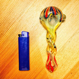 Swirl Large Glass Spoon Pipe W/ Glass Orbs