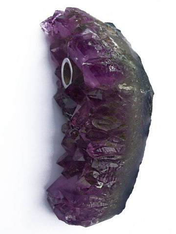 Raven- Amethyst Cluster Crystal Pipe