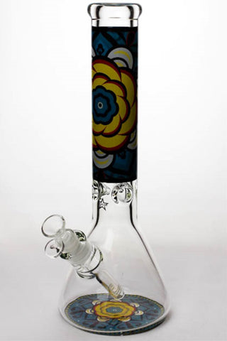 "14"" geometric design heavy glass beaker water bong"