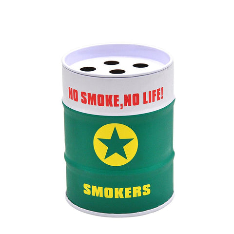 Green Oil Drum Shaped Tin Ashtray  Ashtrays For Sale  Free Shipping