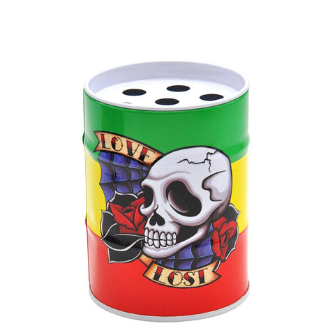 Lost Love Skull Oil Drum Shaped Tin Ashtray For Sale  Free Shipping