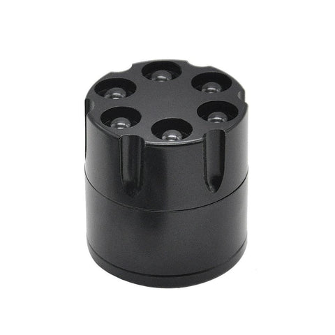 Revolver 6 Shooter 30Mm 3 Layer Aluminium Novelty Herb Grinder (Silver/white) - Black