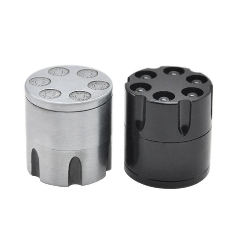 Revolver 6 Shooter 30Mm 3 Layer Aluminium Novelty Herb Grinder (Silver/white)