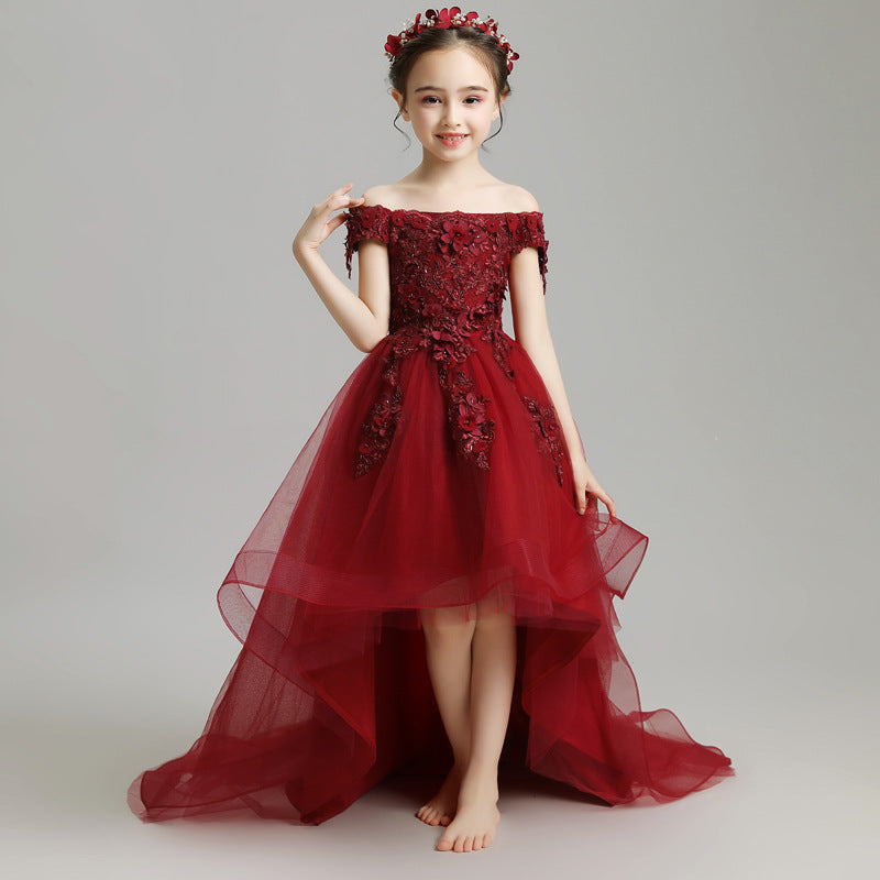 Communion Dress Little Kids Burgundy Trailing Mesh Dresses Lace Flower Girl Bandage Asymmetrical Prom Gown Wedding Pageant Children Clothing