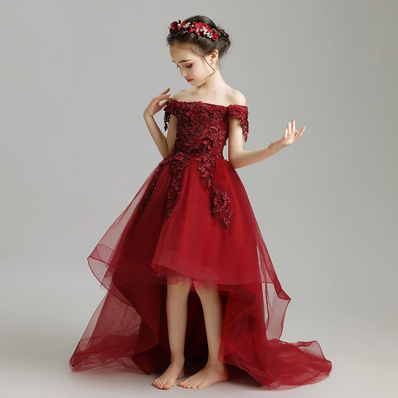 Little Kids Burgundy Trailing Mesh Dresses Lace Flower Girl Communion Dress Bandage Asymmetrical Prom Gown Wedding Pageant Children Clothing