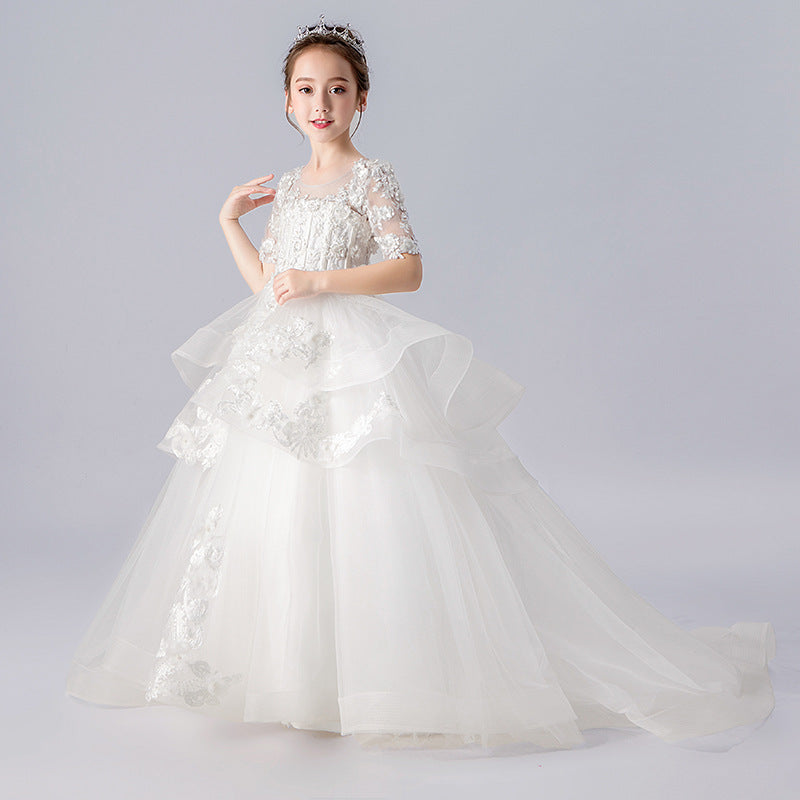 Little Kids Embroidery Sheer Dress Trailing Gowns Puffy Gown Fancy Princess Skirt New Flower Girl Host Costume