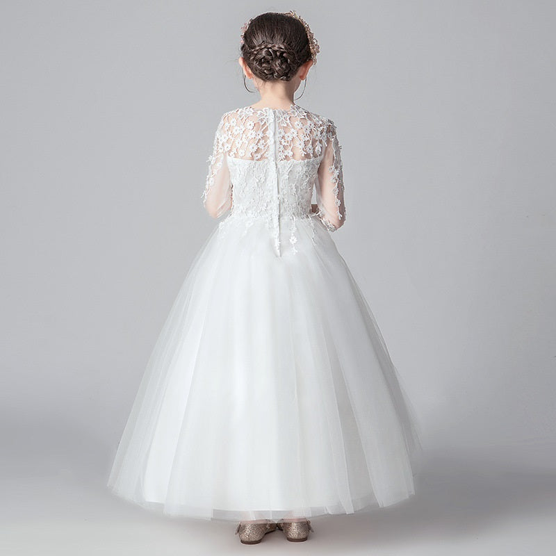 Little Kids Princess Dress Long Sleeves Lace Tulle Ball Gowns First Communion Dresses Girl Romper Dress Host Piano Costume Skirt