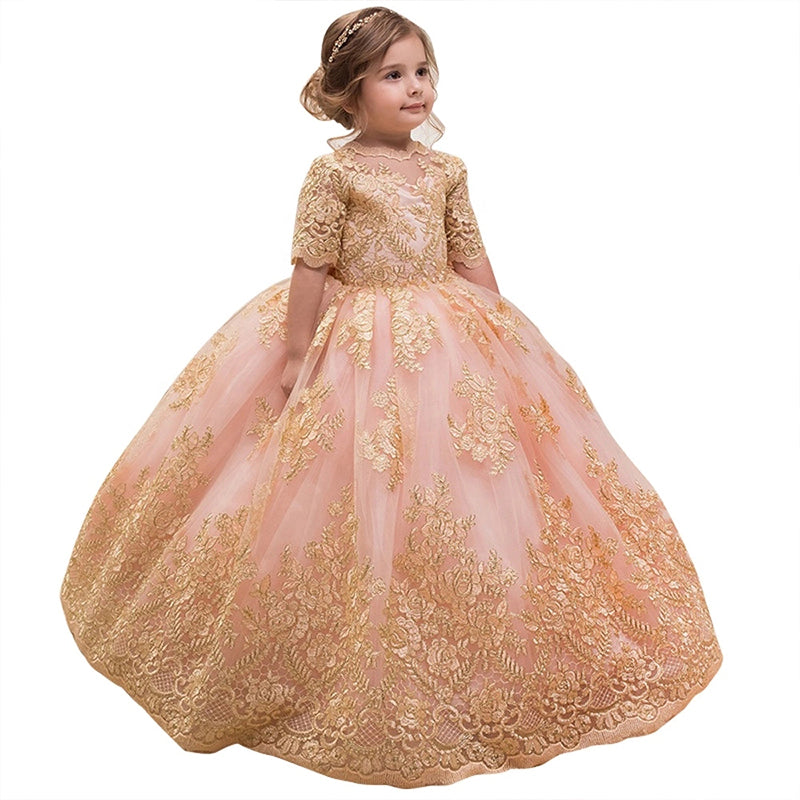 Flower Girl Dress Princess Gown V Back Dress Girls' Dance Dress Floor Length Prom Tulle Gown with Pink Bow