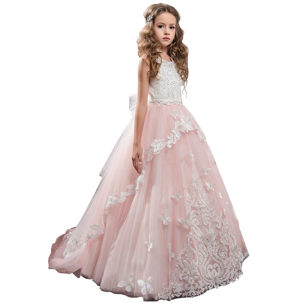 First Communion Dress with Bow Flower Lower Girl Dress Kids Lace Beaded Pageant Ball Gowns Long Puffy Kids Ball Gowns