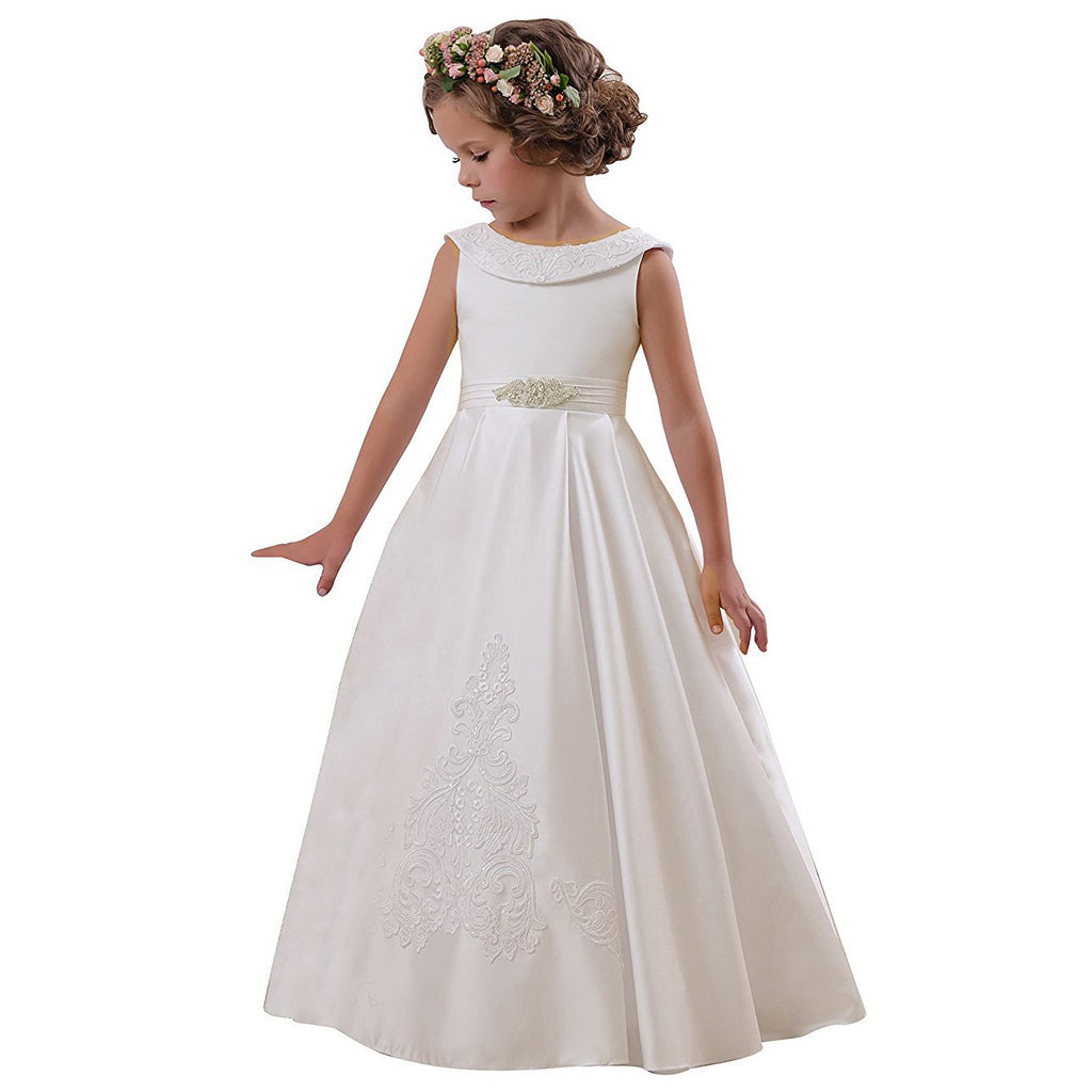little girls dresses Elegant O-Neck Sleeveless kids ball gown A-Line Stain Party Wedding Dresses for Girls 2-12 Year Old