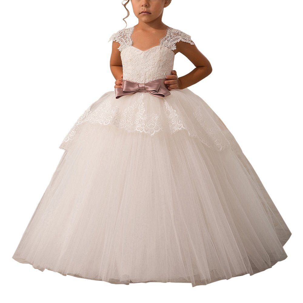 Elegant Lace Appliques Cap Sleeves Tulle Flower Girl Dress Kids Cute Backless Dress Toddler Party Tulle Tutu Dresses 0-12 Years