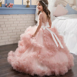 Flower Girl Dress Short-Sleeved V Back communion dress lace top Tulle Skirt Child Girl Dress Ball Gown Princess Girl Birthday Dresses