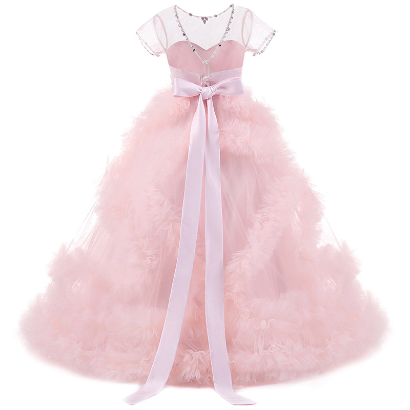 Communion Dress Lace Top Short-Sleeved V Back Tulle Skirt Child Girl Dress Ball Gown Princess Girl Birthday Dresses Flower Girl
