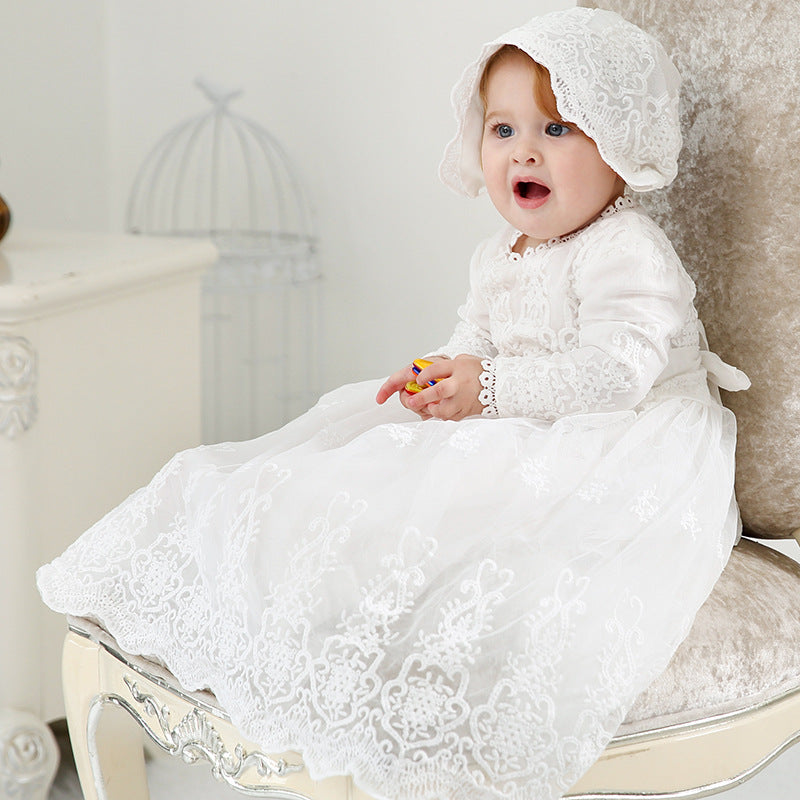 Luxury Embroidery Lace Christening Gown Baby Girl Baptism Dress with Coat Bonnet