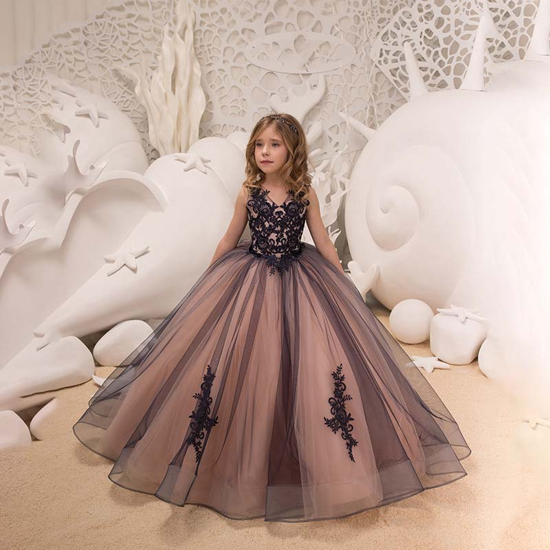 Fancy Flower Girl Dress Lace Applique Wedding Dress Sleeveless Tulle Bridesmaid Pageant Party Princess Cute Dance Ball Gown