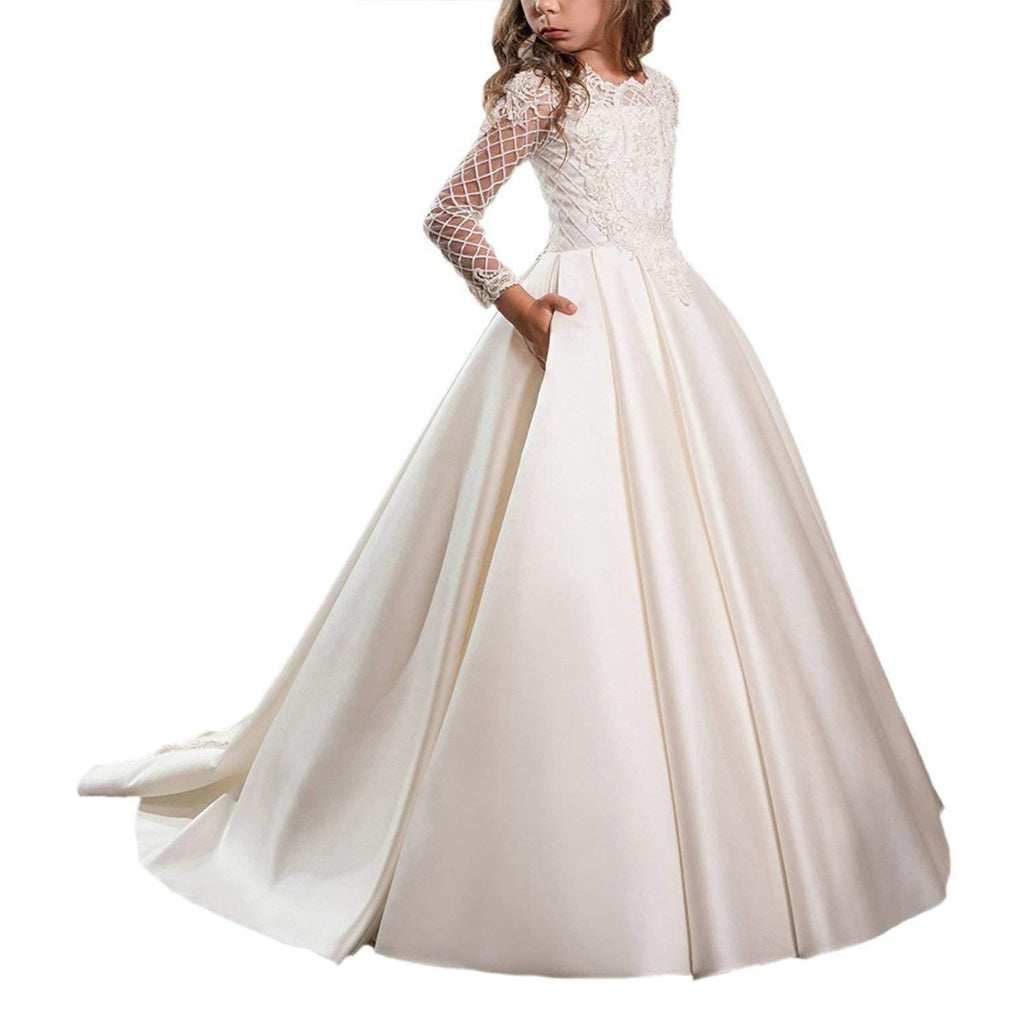 First Communion Dresses for Girls with Sleeves Long Ball Gown Trailing Dress