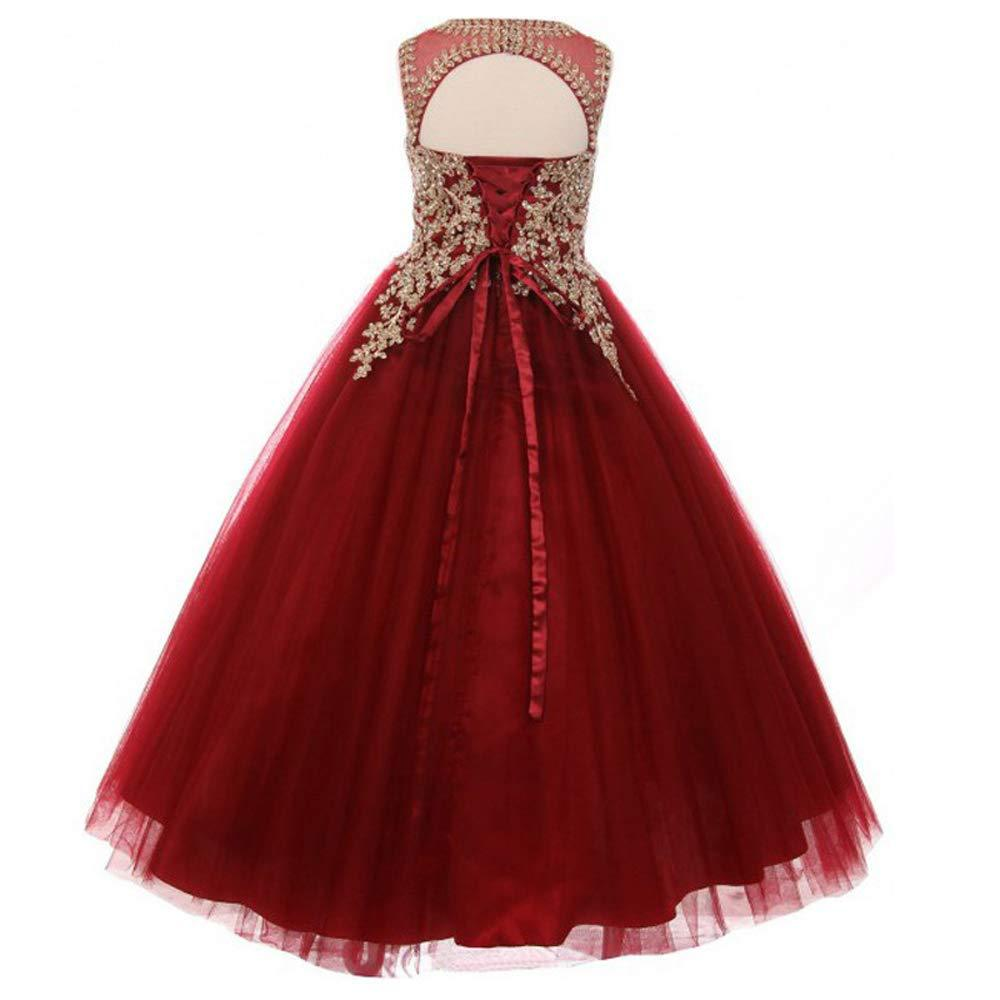 Little Girls Long Pageant Dresses Prom Ball Gown Gold Lace Burgundy Tulle Sleeveless Red Wedding Girl Dress Tulle Dance Gown
