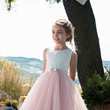 Sleeveless Flower Girl Dress for Wedding Party Gown Floor Length Bridesmaid Pageant Dress Dance Ball Dress Long Princess Tulle Dress