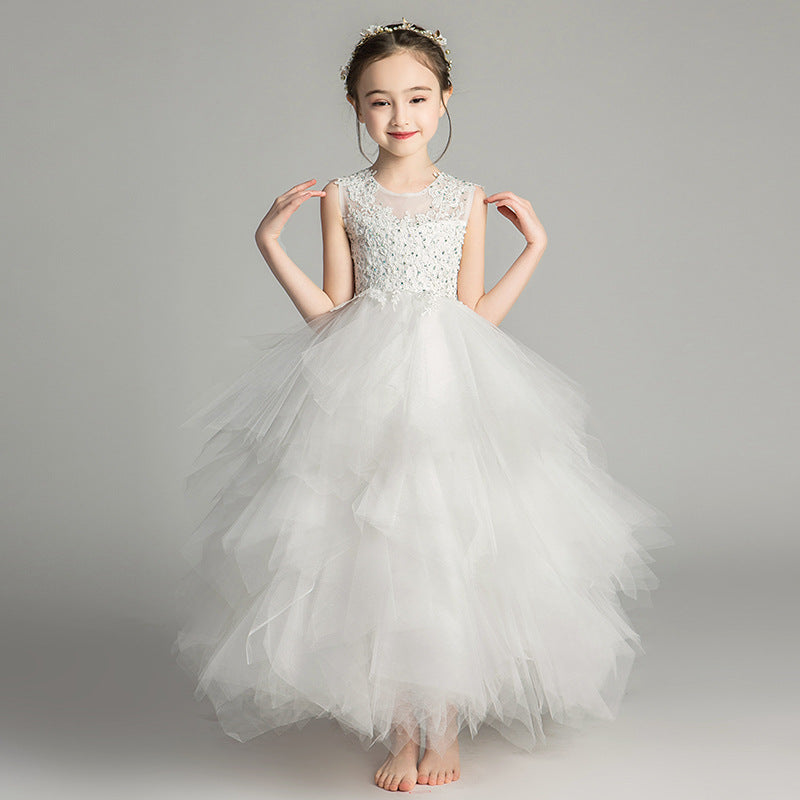 Children Girls Noble Luxury Pink White Color Birthday Wedding Party Lace Dress Model Show Kids Piano Host Long Dress