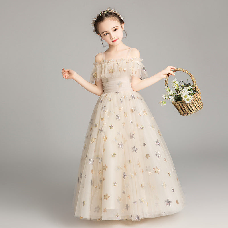 Fashion Girls Princess Dress Ball Gown Kids Formal Wear Flower Girls Dresses For Wedding Elegant Stars Girls Pageant Dress