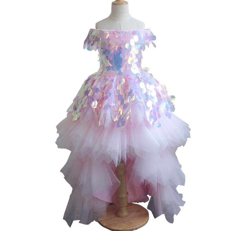Girls Glitz Flower Dress Birday Party Costume Glitter Flower Girl Dress Big Sequins Princess Spangle Dress Layered Wedding Flower Girl Dresses