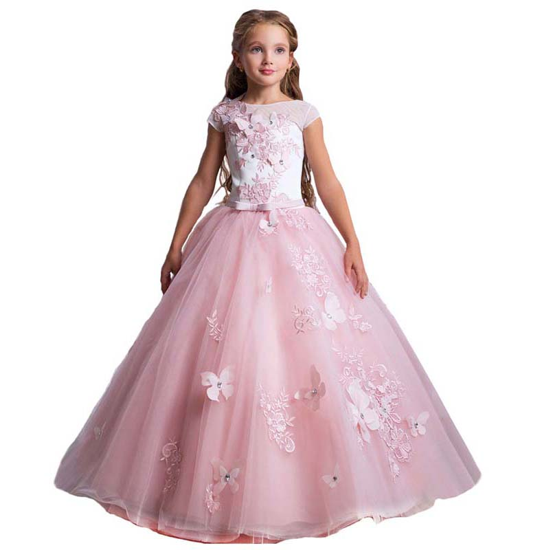 Elegant Flower Girl Dress Girls Pageant Princess Flower Applique Puffy Dress Kids Flower Embroidered Lace Applique Wedding Birthday Pageant Ball Gown