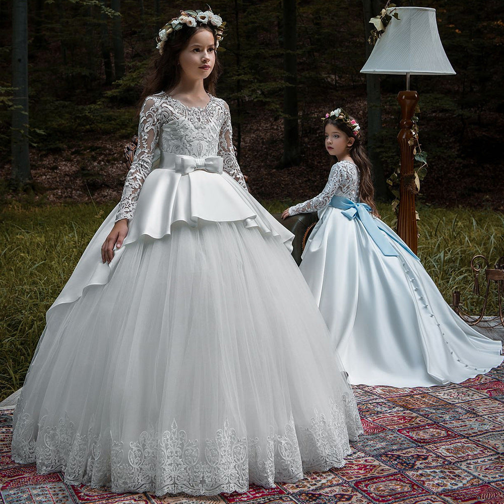 Flower Girl Dress Lace up Long Sleeves Pageant Ball Gowns Long Wedding Dress Formal Party Maxi Gown