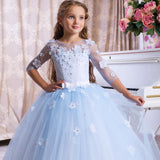 Flowers Girls Dresses 3D Flowers Embroidered Tull Lace Dress Floor Length Wedding Bridesmaid Dress Party Tutu Maxi Gown