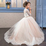 Flower Girl Dress Lace Applique Princess Pageant Party Dress Beaded Rhinestone Birthday Christmas Prom Ball Gown