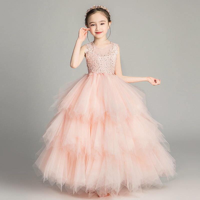 Communion Children Girls Noble Luxury Pink White Color Birthday Wedding Party Lace Dress Model Show Kids Piano Host Long Dress