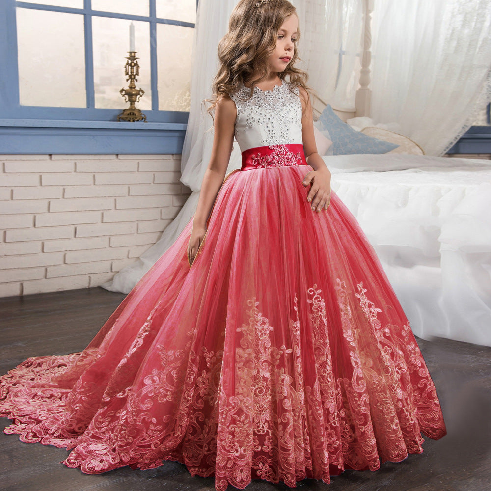 Flower Girls Dress for Wedding Kid Lace Tulle Dance Communion Dress Pageant Sleeveless princess dress Ball Gown with Bow birthday dresses