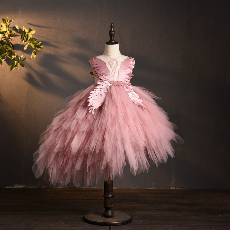 Communion dress Girls princess long tail piano performance clothes children birthday catwalk dress flower girl dress