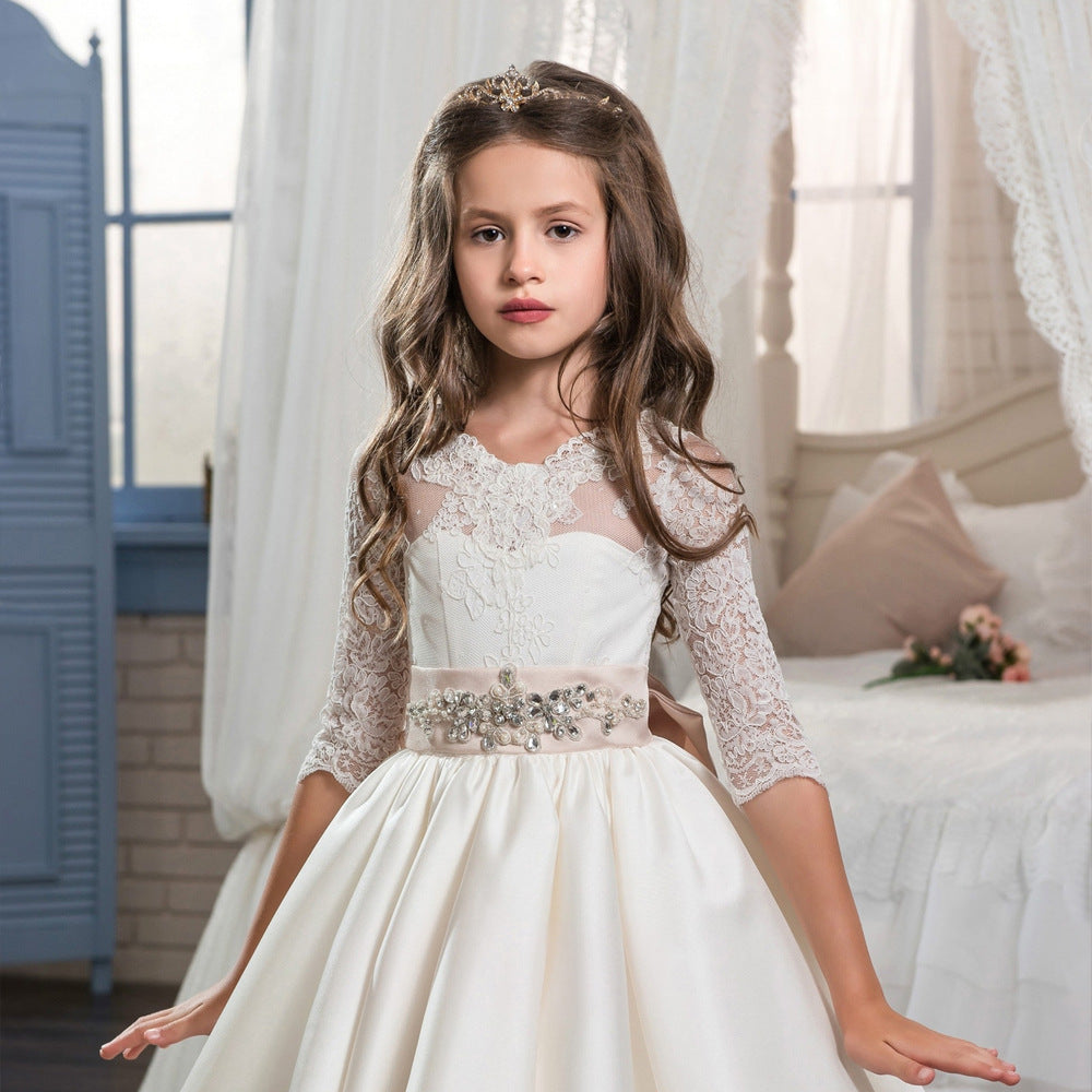 First Communion Dresses for Weddings Half Sleeves Ball Gown with Bow for Girls Beading O-Neck Flower Girl Dress